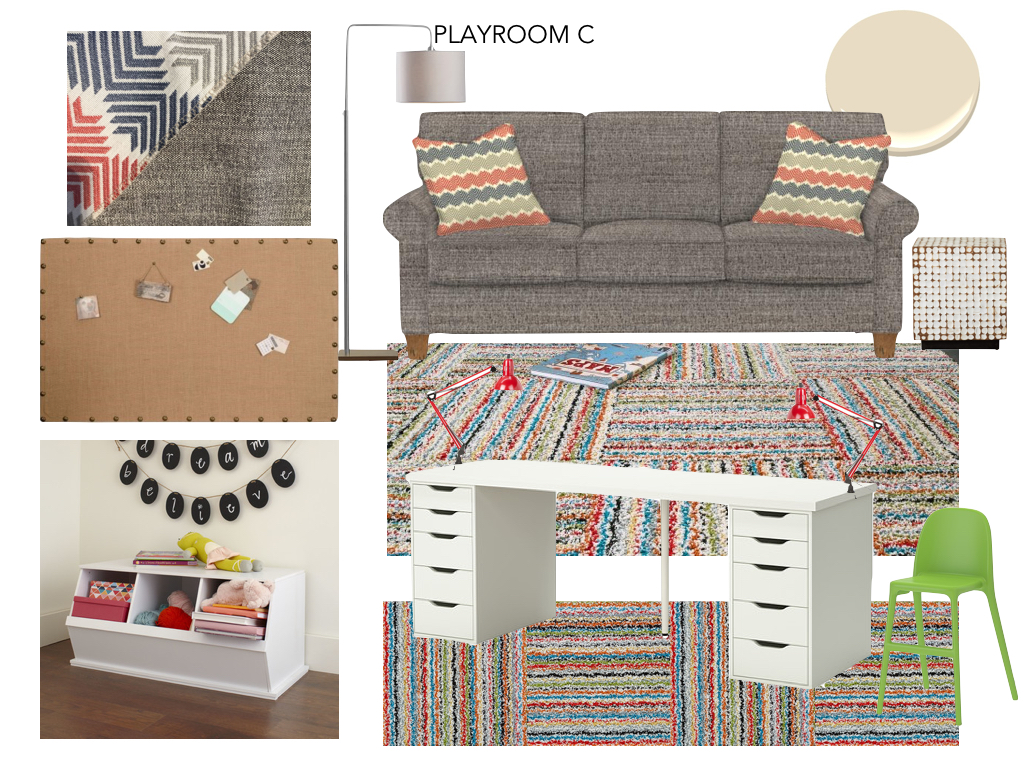 Playroom Option C - colorful scheme with different work surface option
