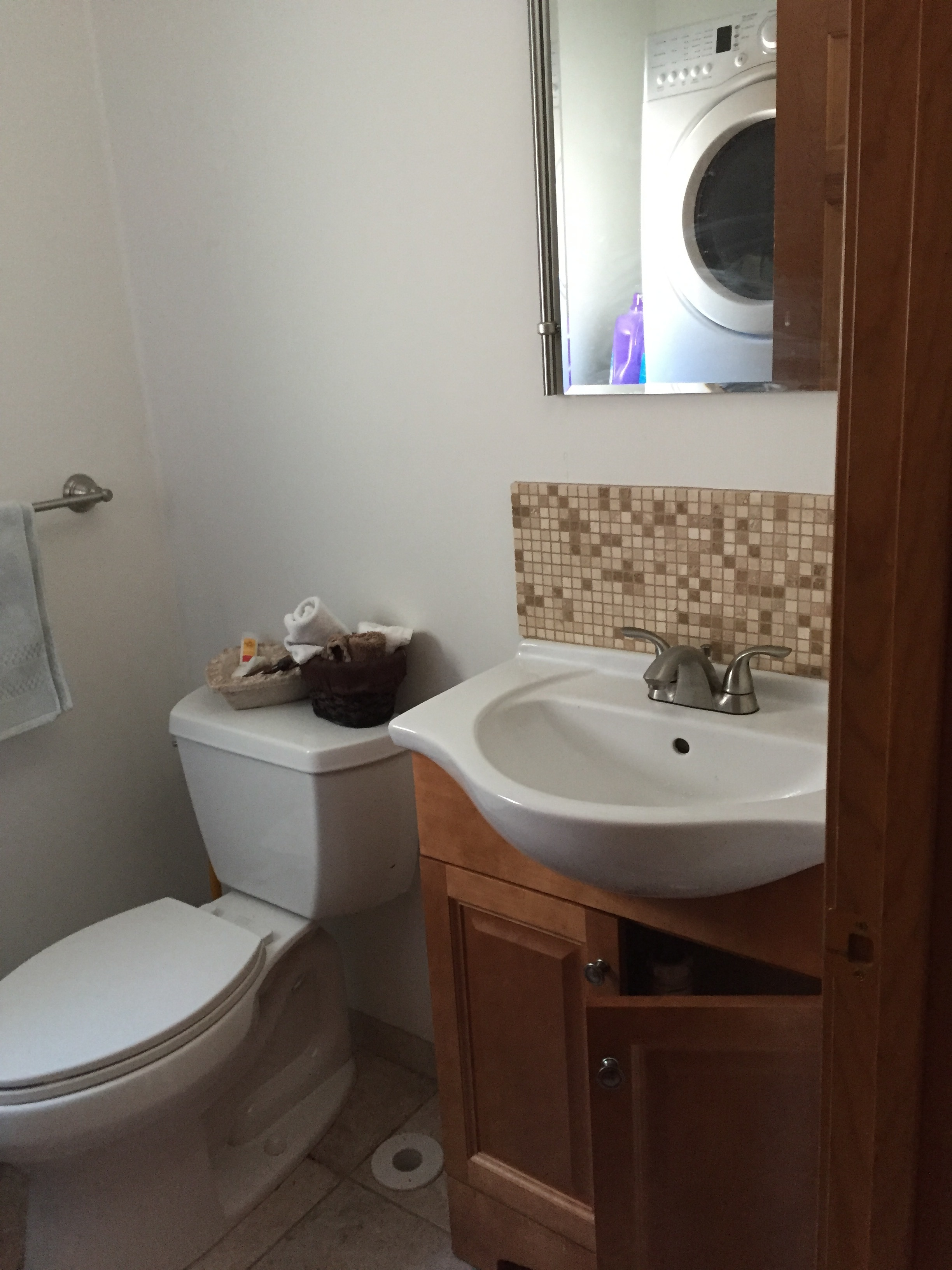 Before - Powder Room, showing washer/dryer behind the door