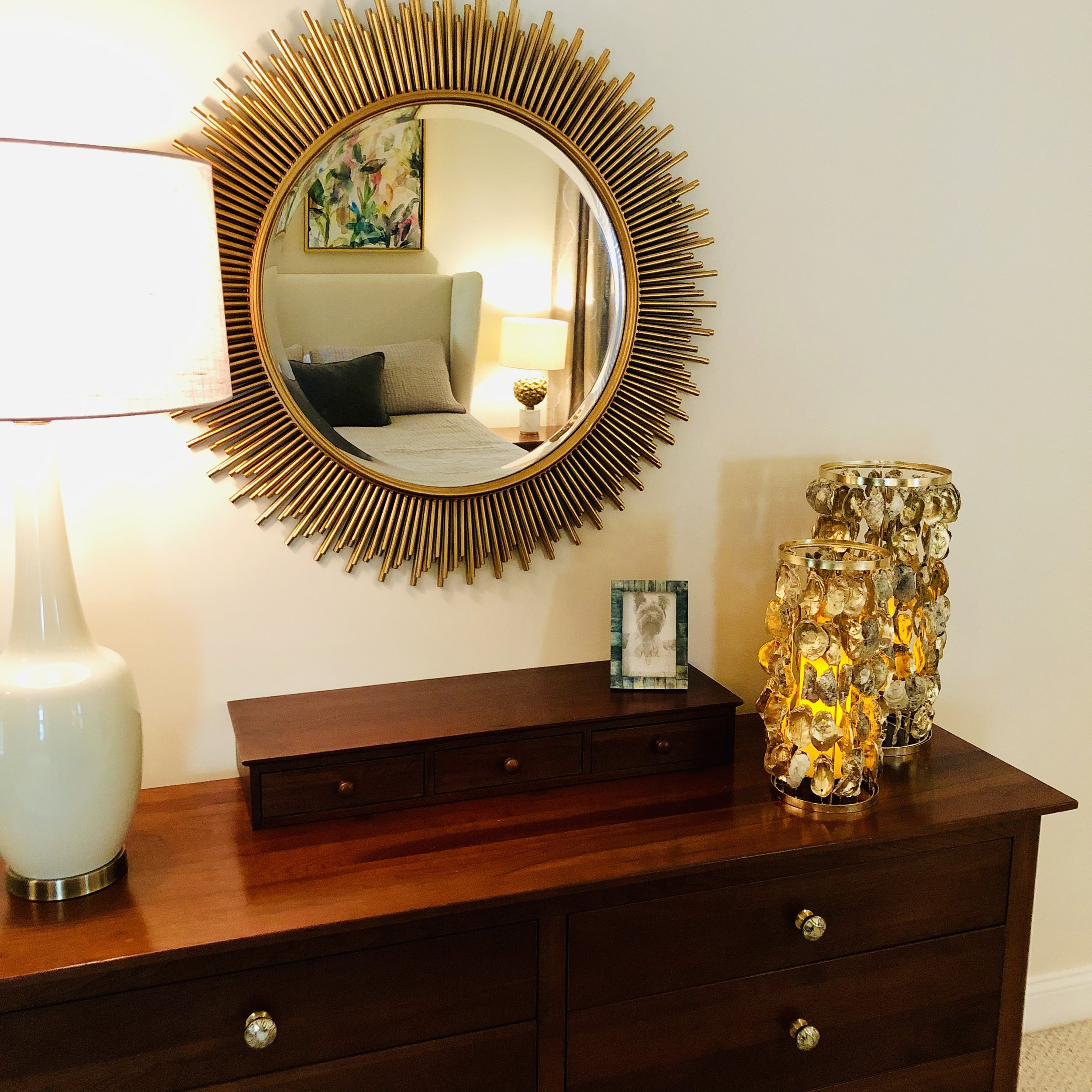 New Dresser Hardware, Mirror, Lamp and Decor