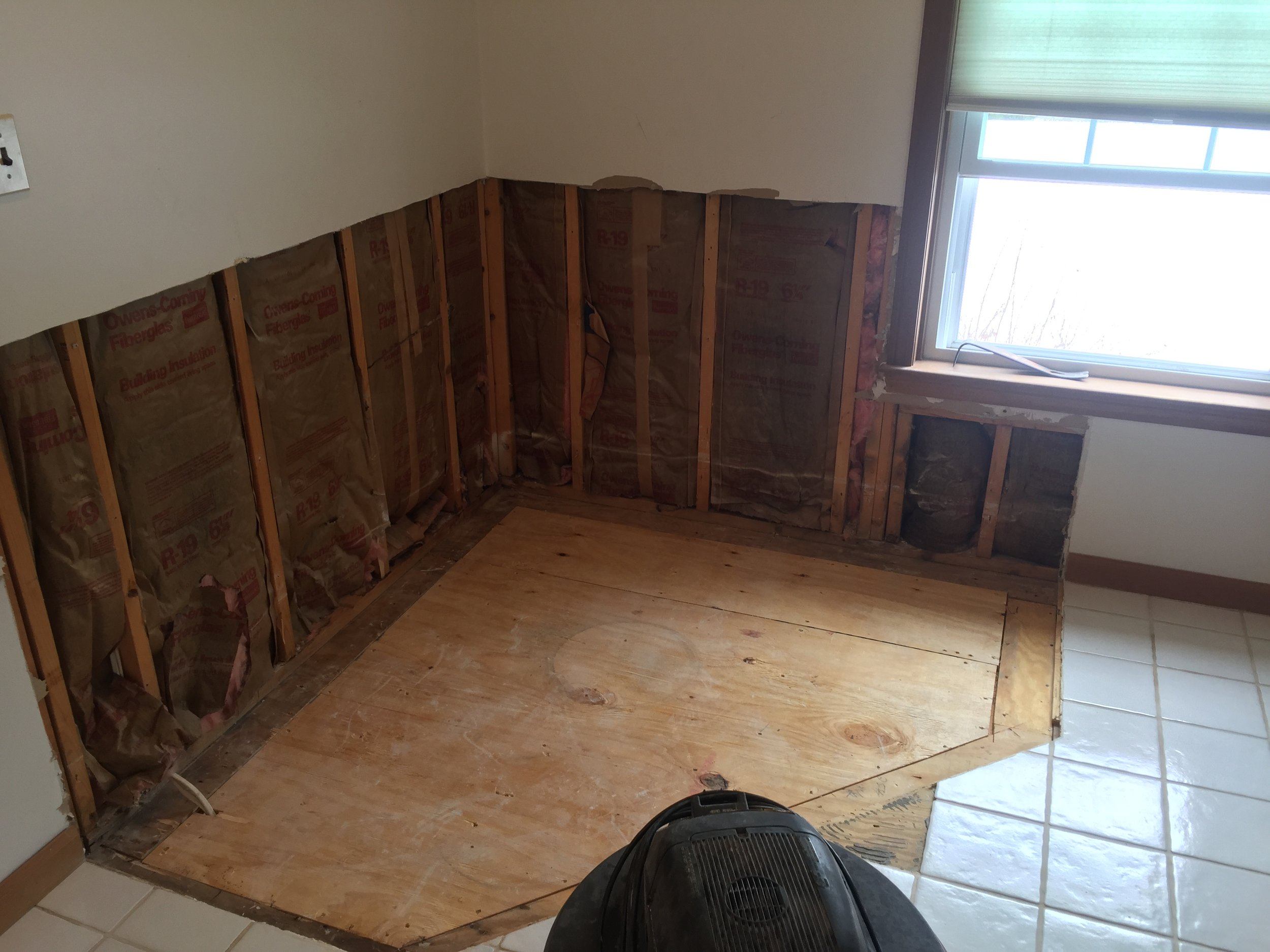 Plywood Subflooring Installed with new floor joists below