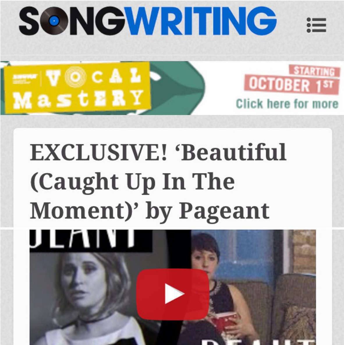 "Songwriting Magazine ""EXCLUSIVE! 'Beautiful (Caught Up in the Moment)' by Pageant"" Oct 12, 2015"