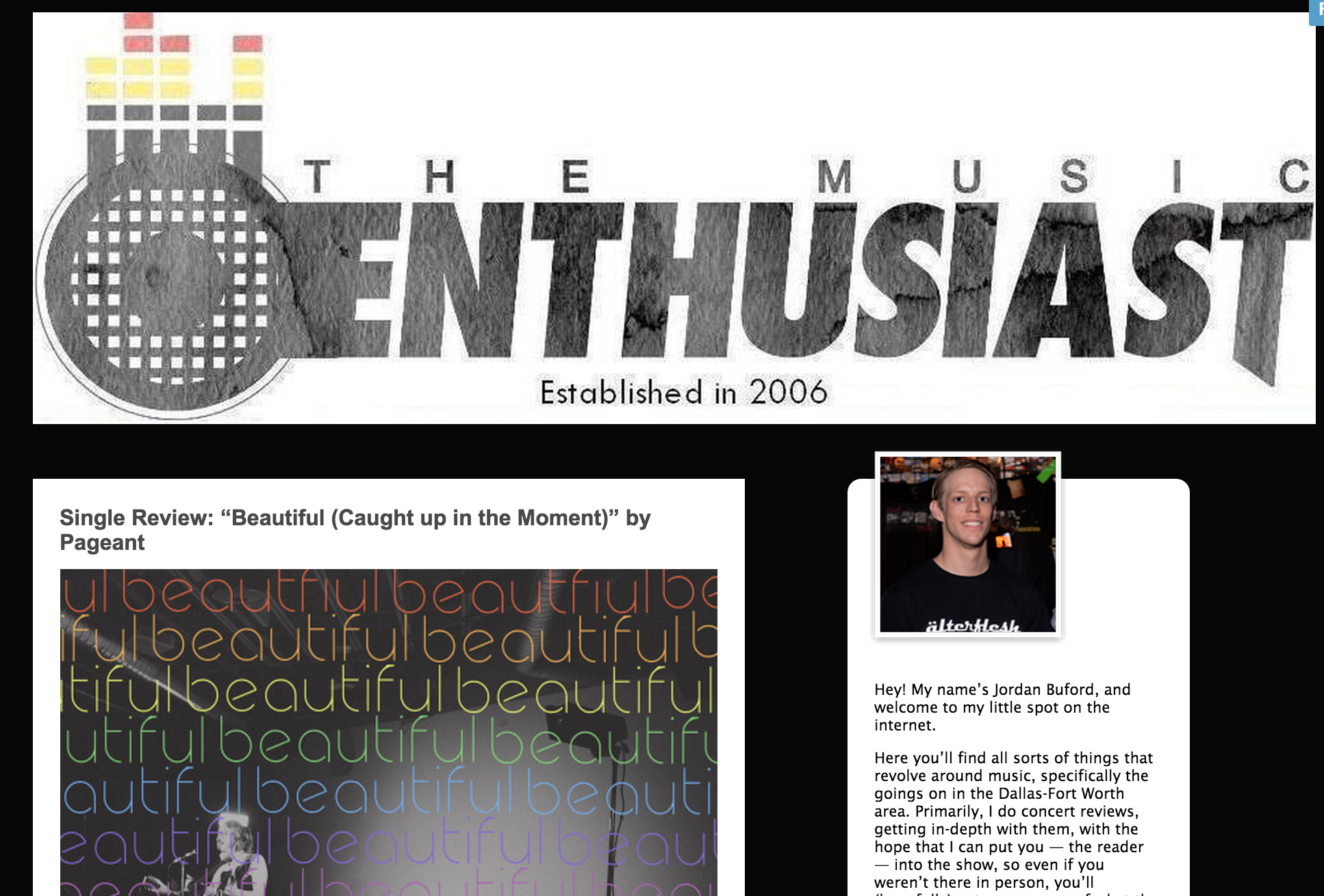 "The Music Enthusiast ""Single Review: ""Beautiful (Caught up in the Moment)"" by Pageant"" Oct 7, 2015"