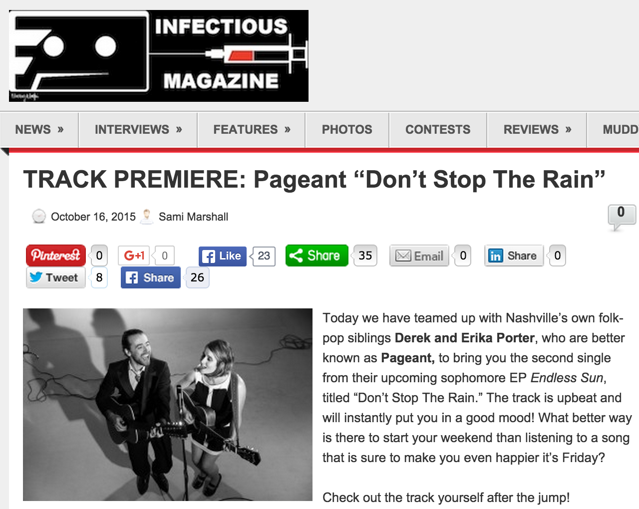 "TRACK PREMIERE: Pageant ""Don't Stop The Rain"" Oct 16, 2015"