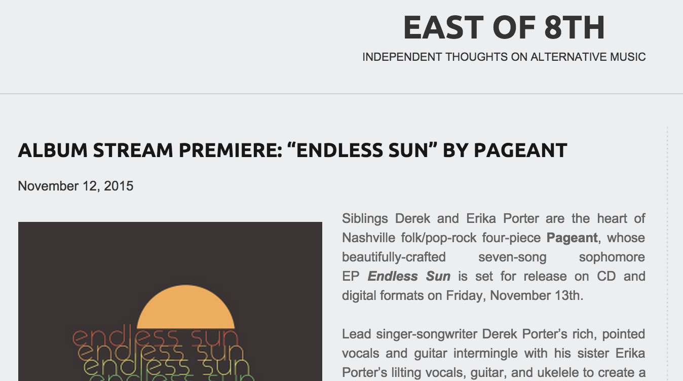 "Album Stream Premiere: ""Endless Sun"" by Pageant 12 NOV 2015"