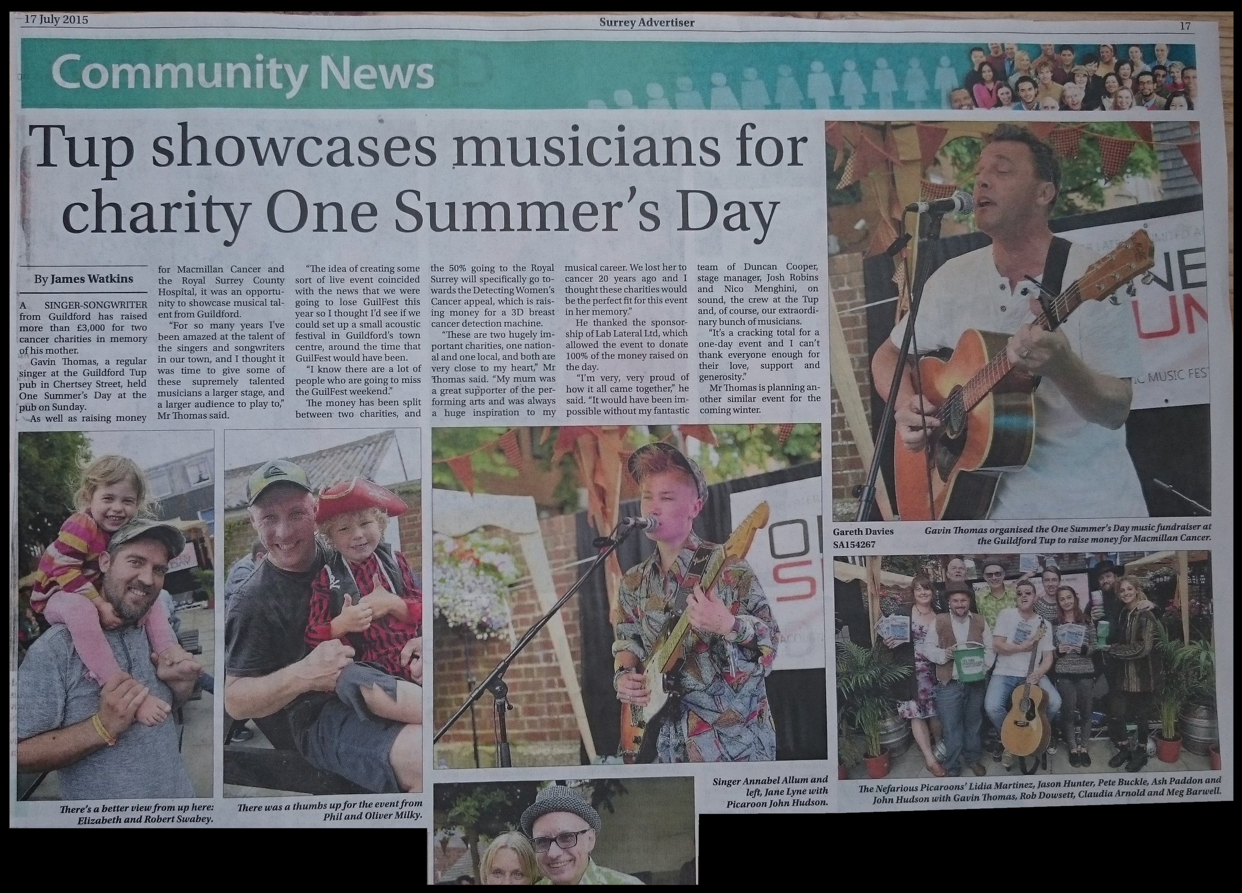 Review of OSD '15 in The Surrey Advertiser 17th July 2015