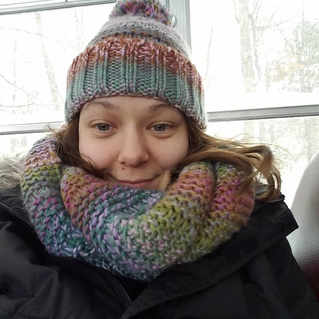 Staying warm in my new camp shaminau hat and scarf! Cannot wait to get back home to my babies!