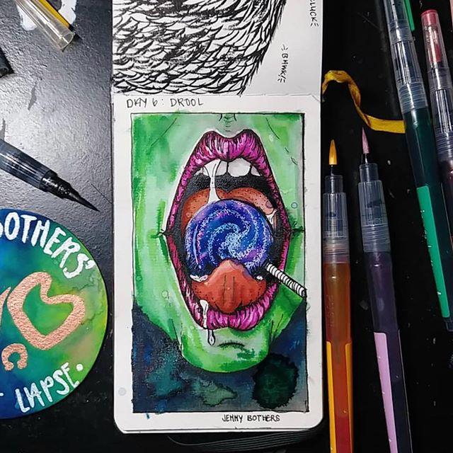 Artwork by @jennybothers #drool #inktober #inktober2018 #art #artistartwork #ink #penandink #draw #drawing #doodle