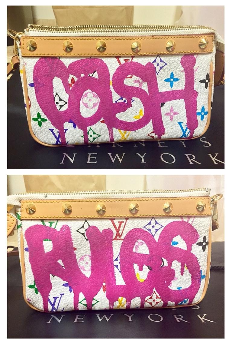 CREAM (Sold), 2015-2016  Enamel based ink on fake Louis Vuitton purse