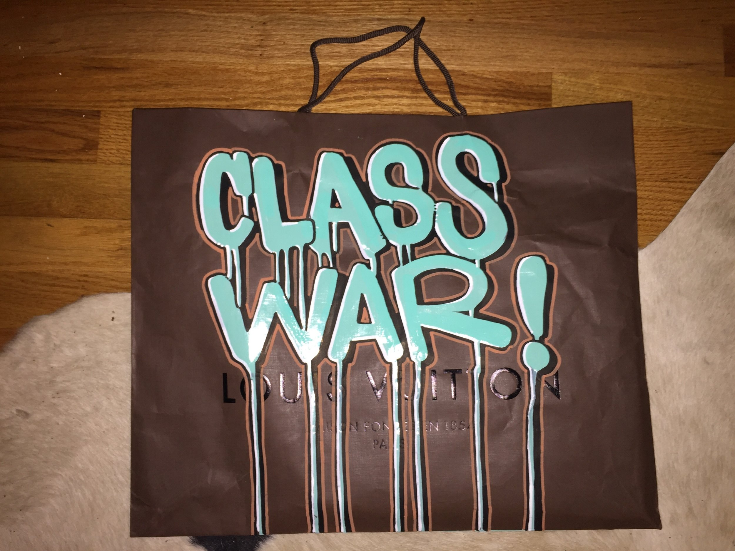 CLASS WAR, 2015  Enamel-based ink, oil-based ink and water-based ink on authentic Louis Vuitton shopping bag