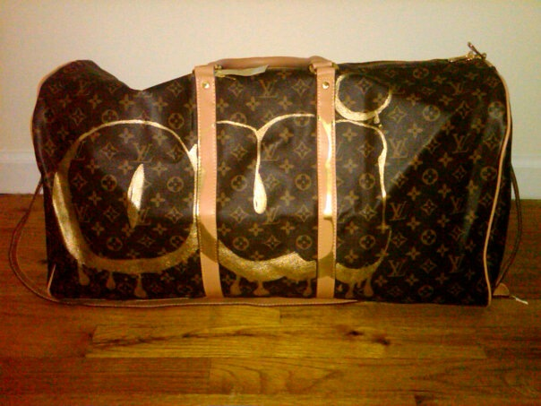 OUI OUI, BON BONS AND ALL THAT GOOD STUFF (Sold), 2012  Oil-based gold marker on fake Louis Vuitton duffel bag