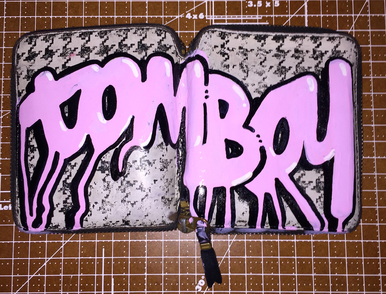 Comme des garçons, 2016  Enamel-based, oil-based and water-based ink on used Comme des Garçons wallet