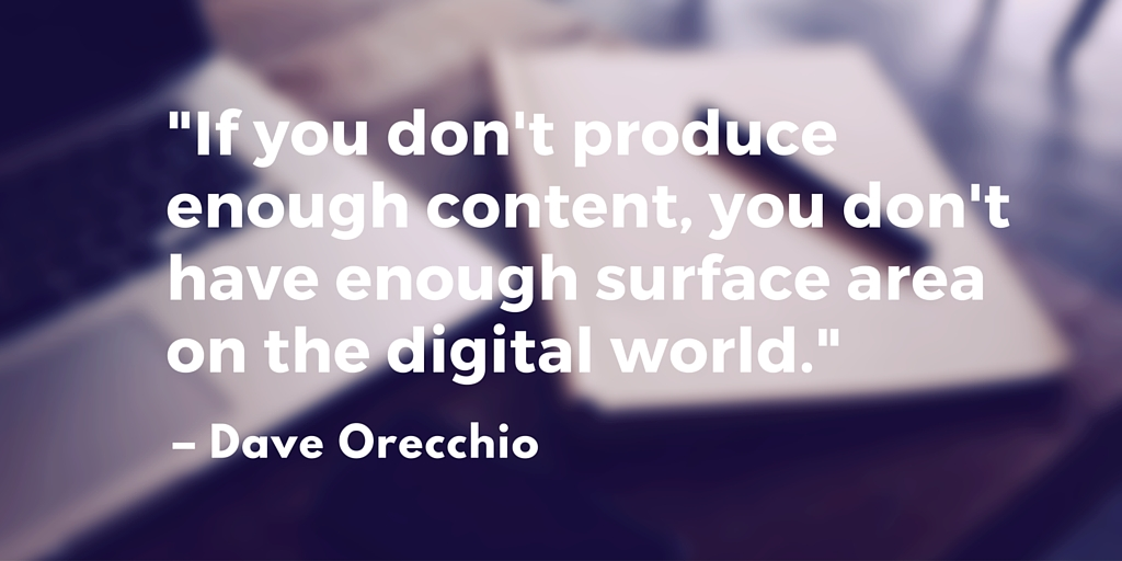 """""""If you don't produce enough content, you don't have enough surface area on the digital world."""" – Dave Orecchio"""