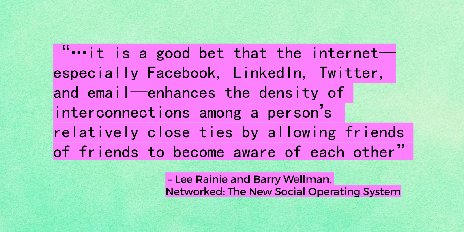 """...the internet...enhances the density of interconnections among a person's relatively close ties..."" - Lee Raine, Barry Wellman"