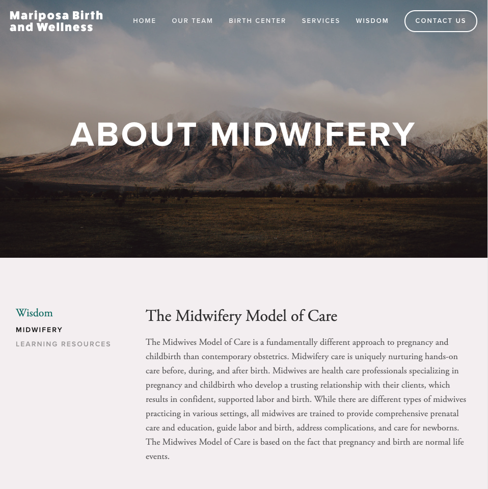 About Midwifery Page