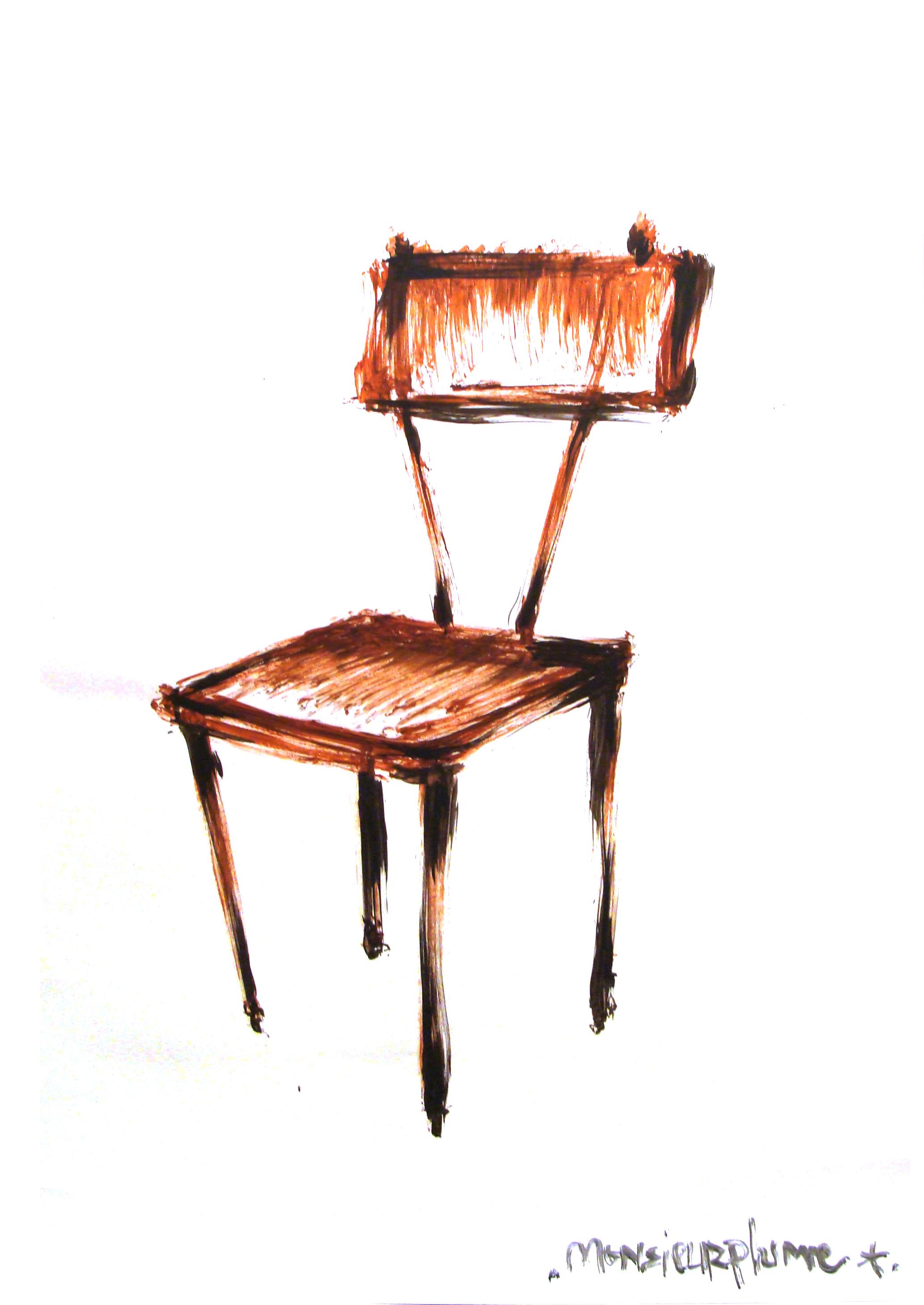 Janvier 2012 - Acrylique sur affiche - 70 x 100 - Chaise