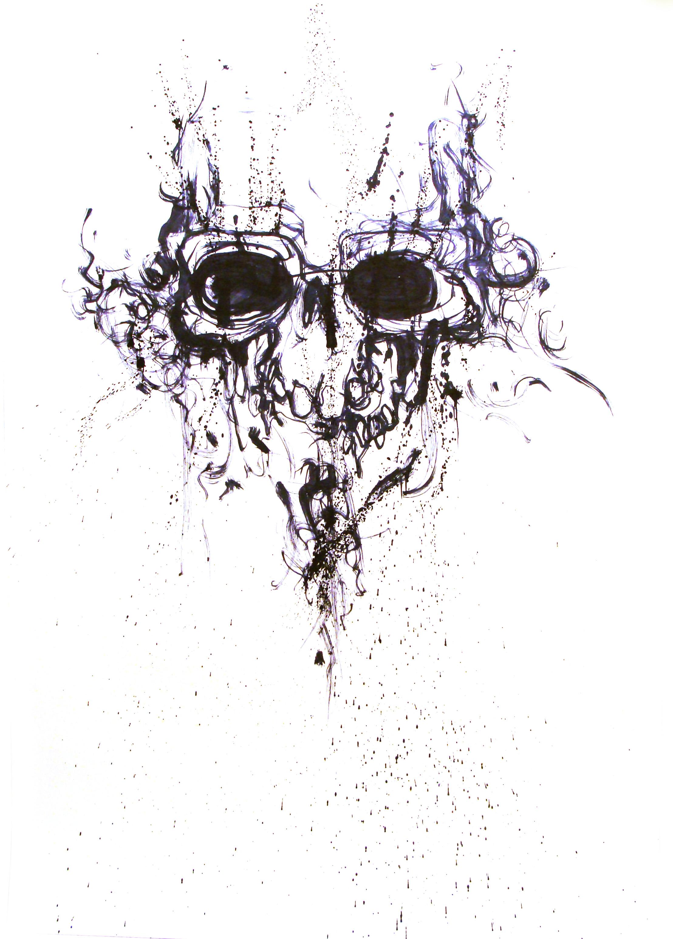 Janvier 2012 - Encre sur affiche - 70 x 100 -Crâne d'encre