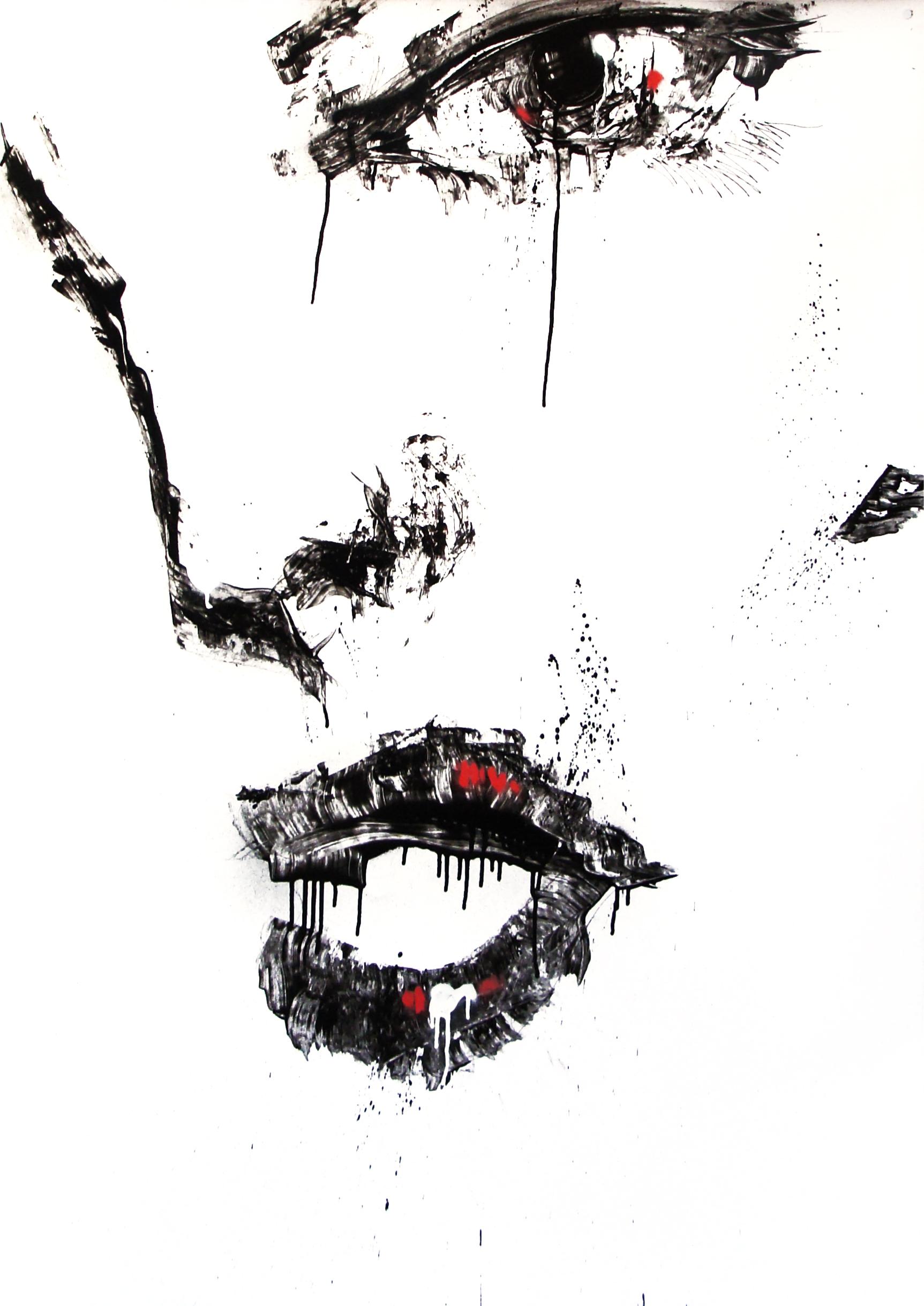 Février 2012 - Aérosol sur affiche 70 x 100 - Encre femme 1