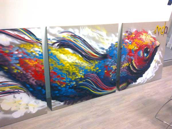 2011 - Aérosol sur toile, triptyque - Flying Fish