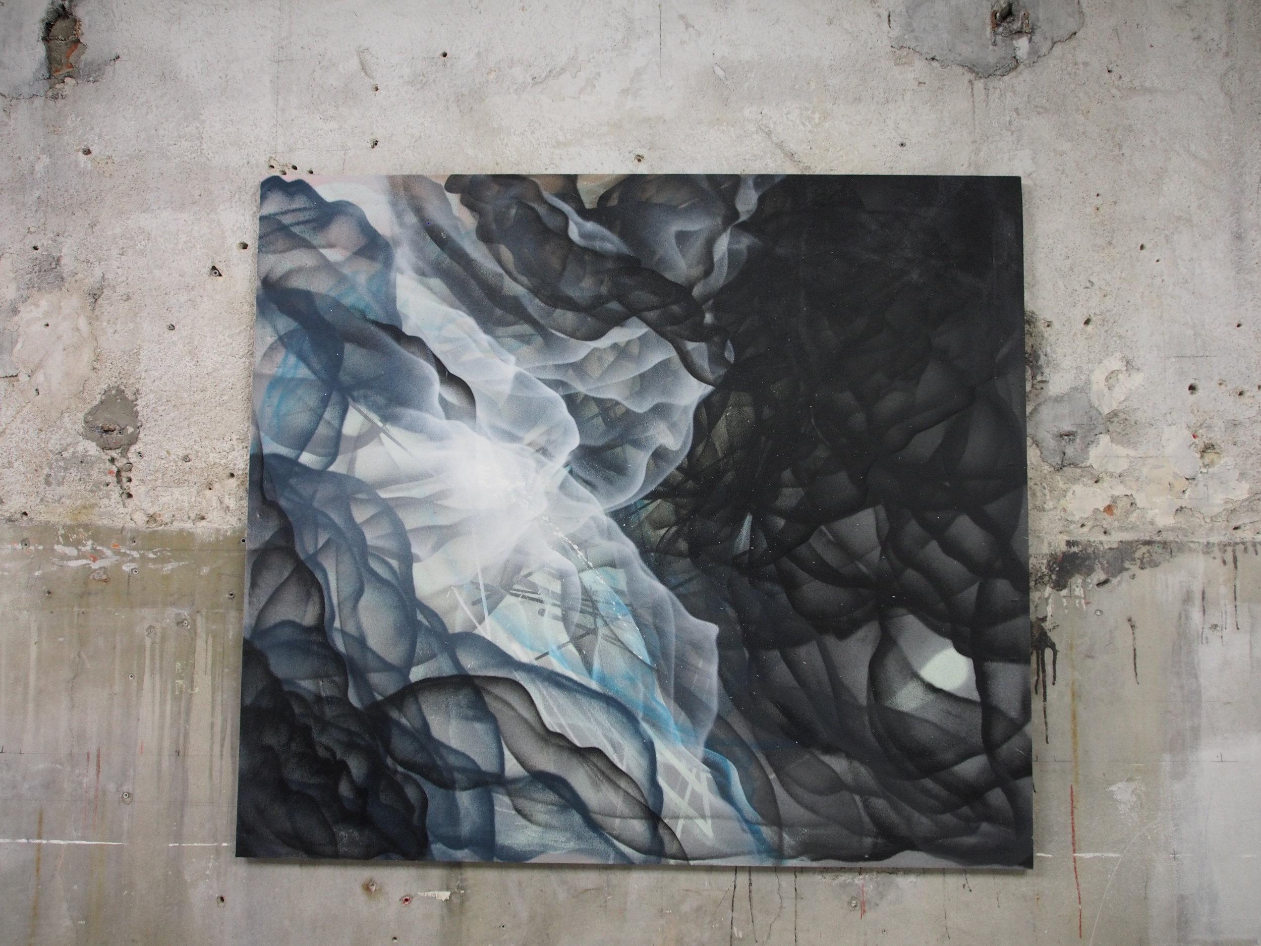 L - 150x170cm - Spray on polycarbonateSpray on canvas