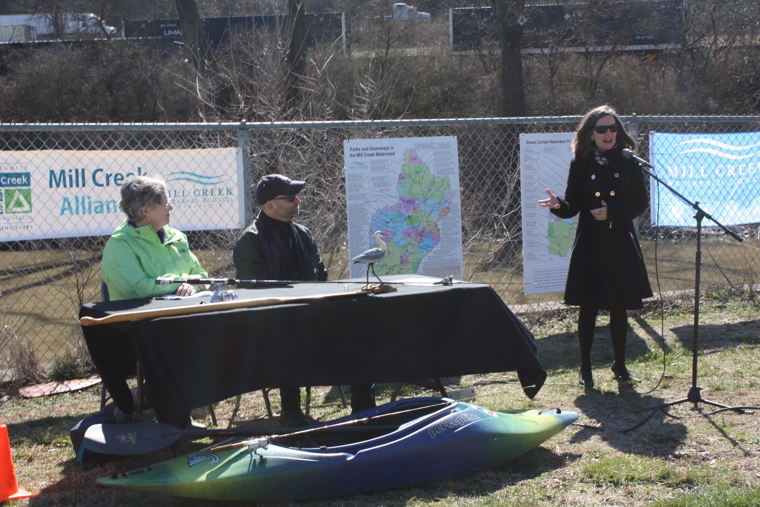 Mill Creek Alliance - press conf - Denise Driehaus at mic.JPG