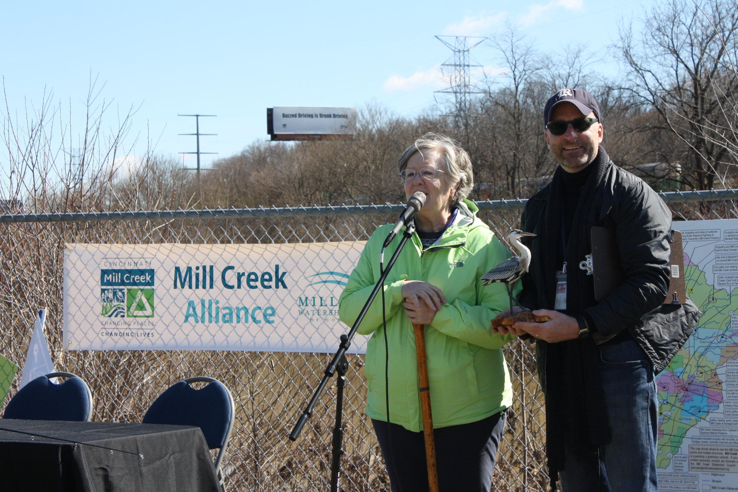 Mill Creek Alliance - press conf - Pat & Steve at mic.JPG