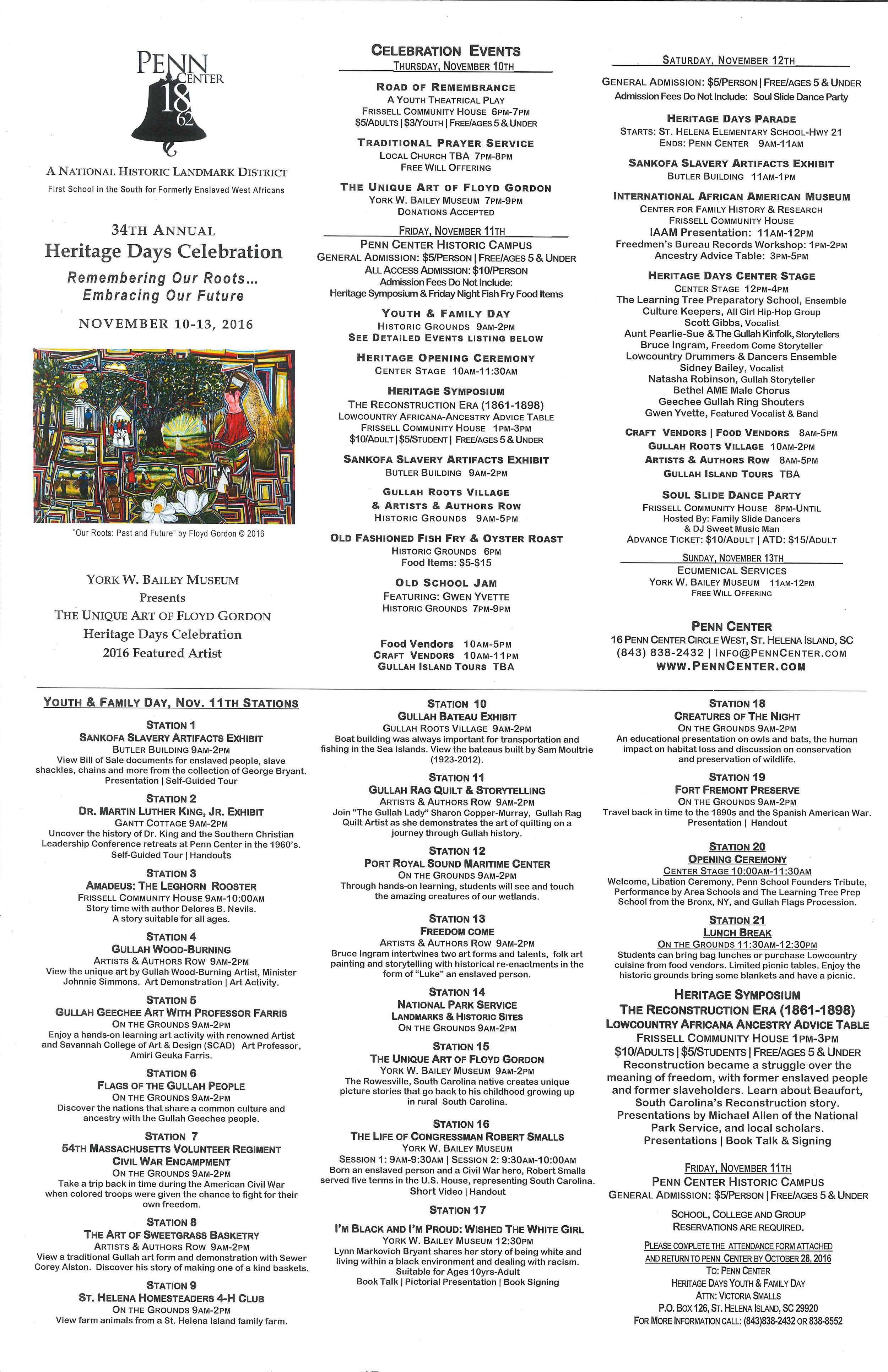 2016 Heritage Days Celebration Events/Times/Costs