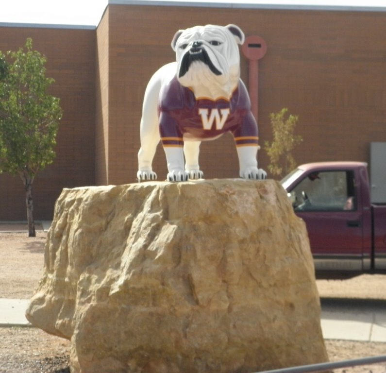 Winslow Arizona Fiberglass Bulldog mascot