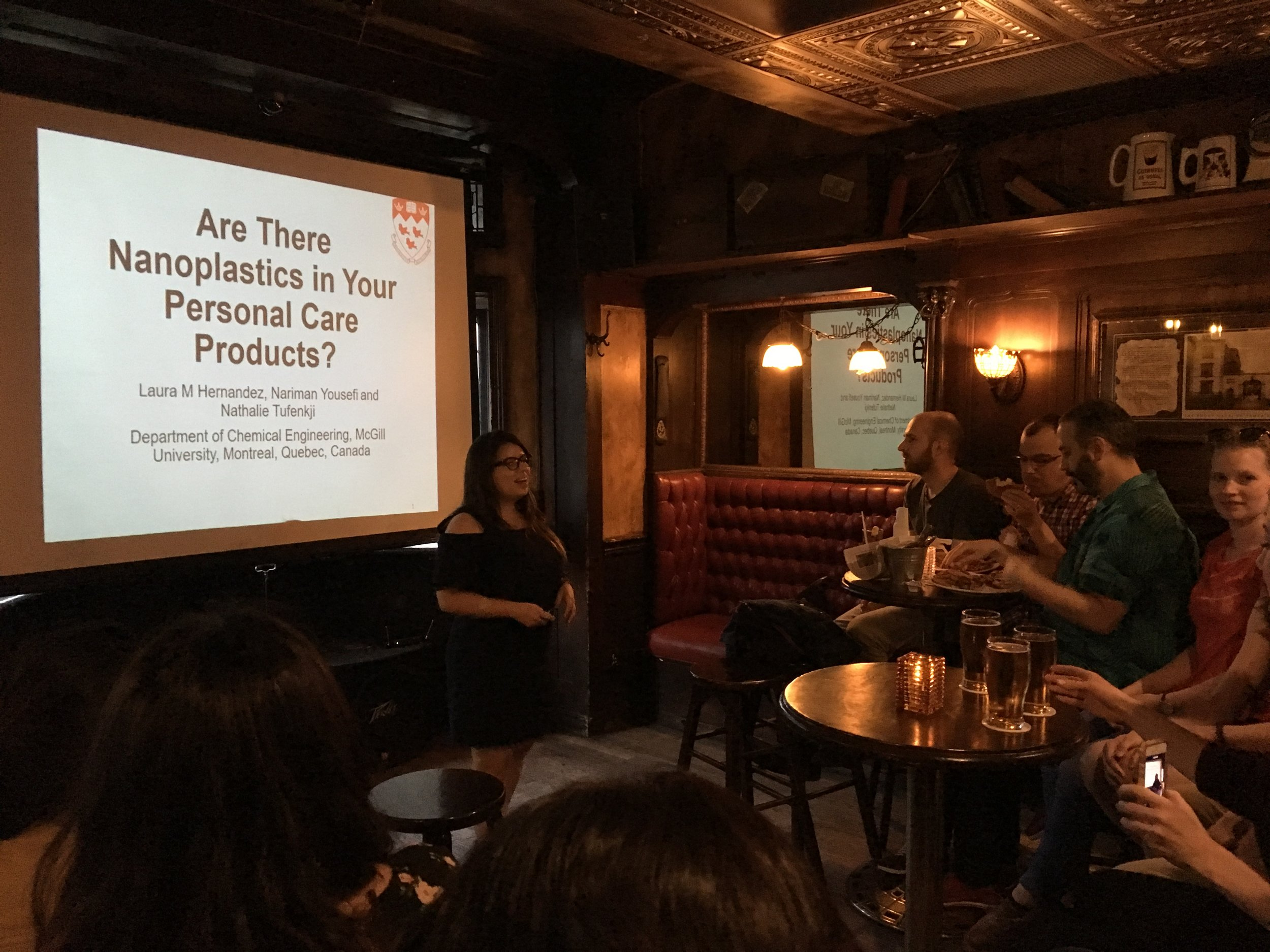 Ph.D. candidate Laura Hernandez at the Pint of Science public seminar series.