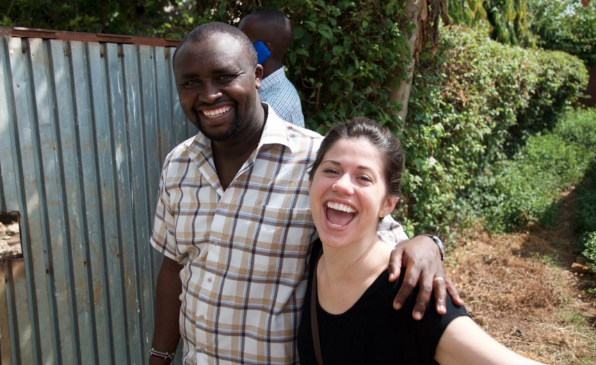Duncan and Molly trying to beat the heat at the newest center in Changamwe.