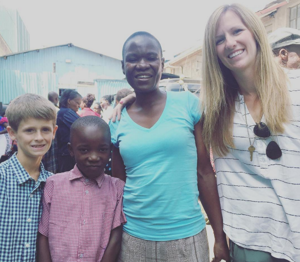 Kylie and Wheeler White with clients from the center in the Sinai community.