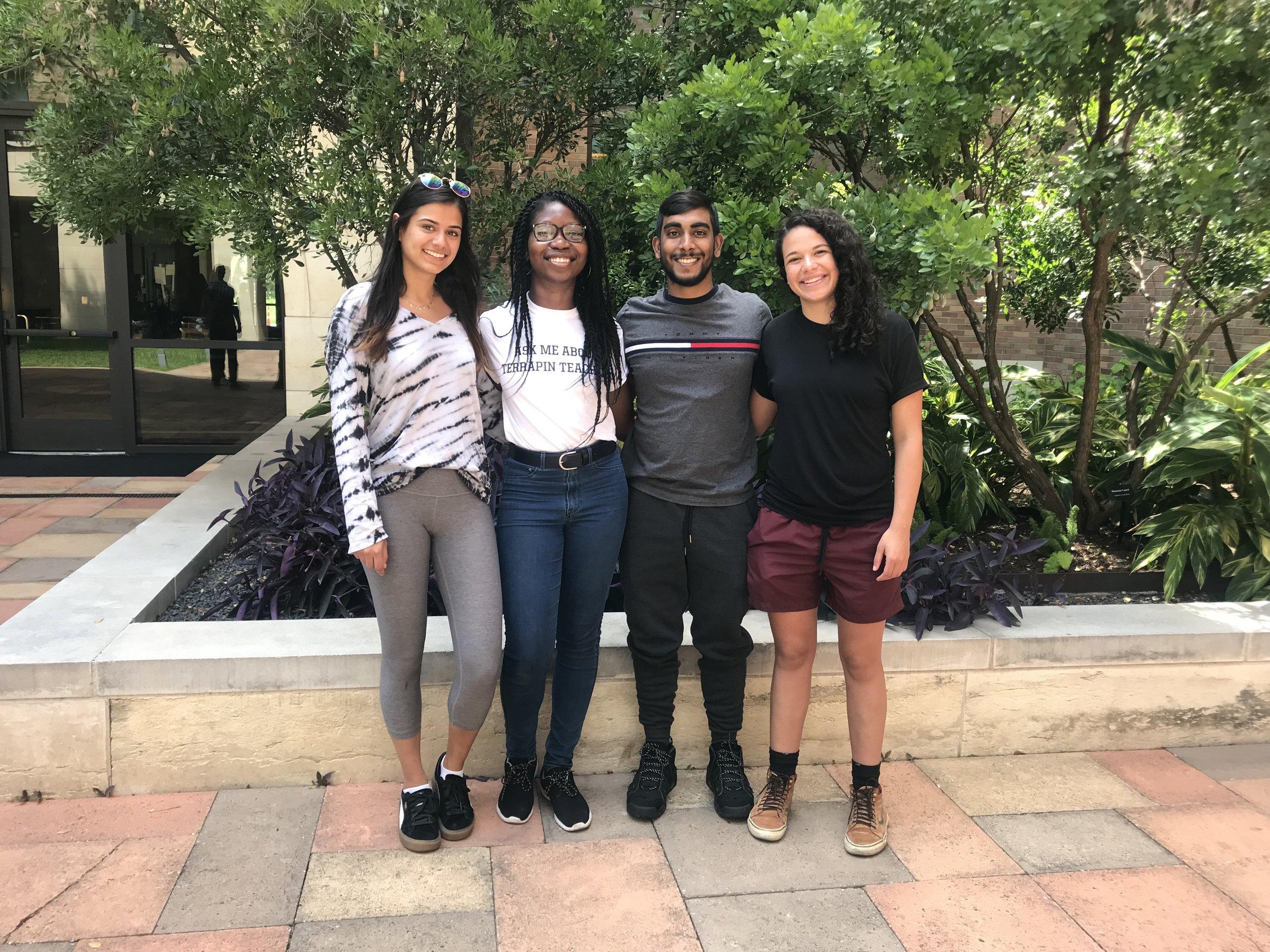 (Left to right: Tara Tanasovich, Precious Azike, Joshua Pooranmal, and Vanessa Wagener)