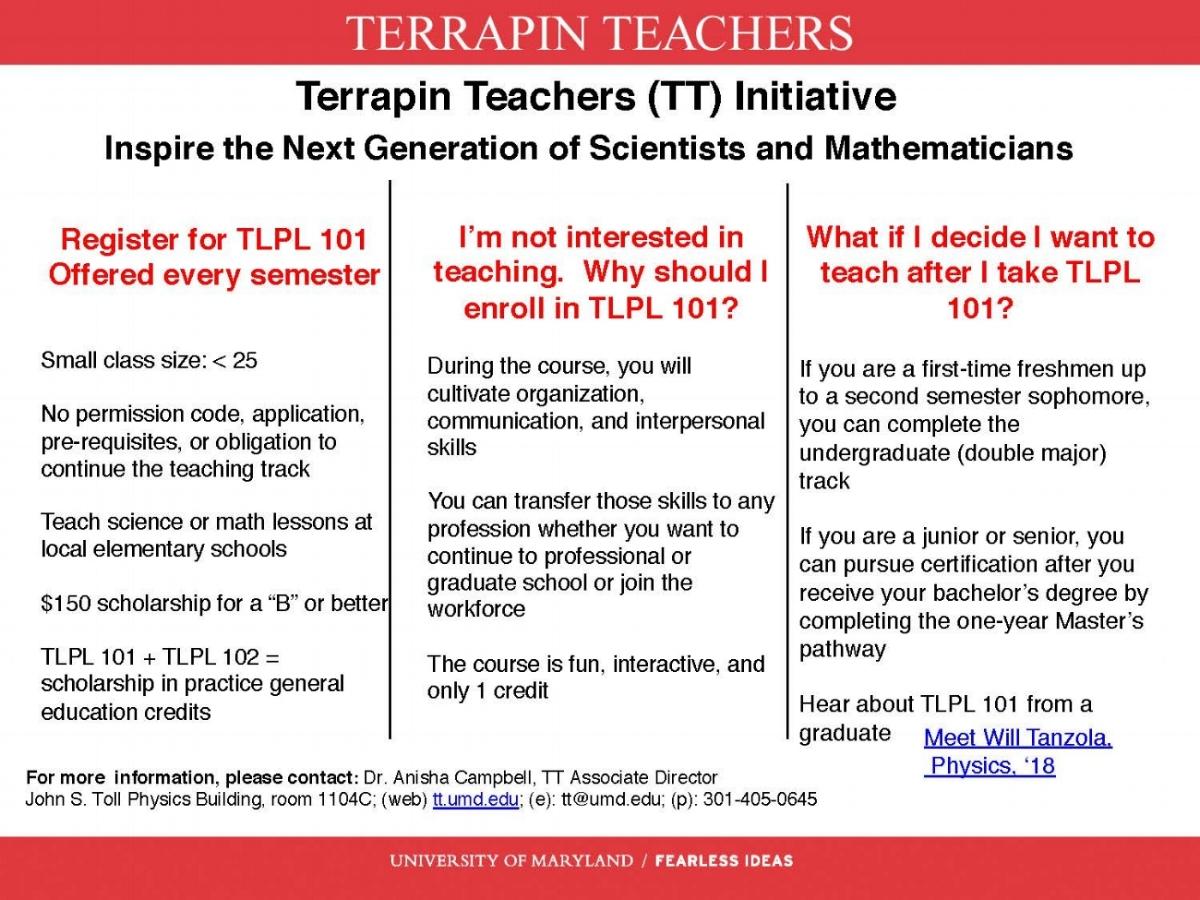 Terrapin Teachers Recruitment TLPL 101 One Pager f18 .jpg