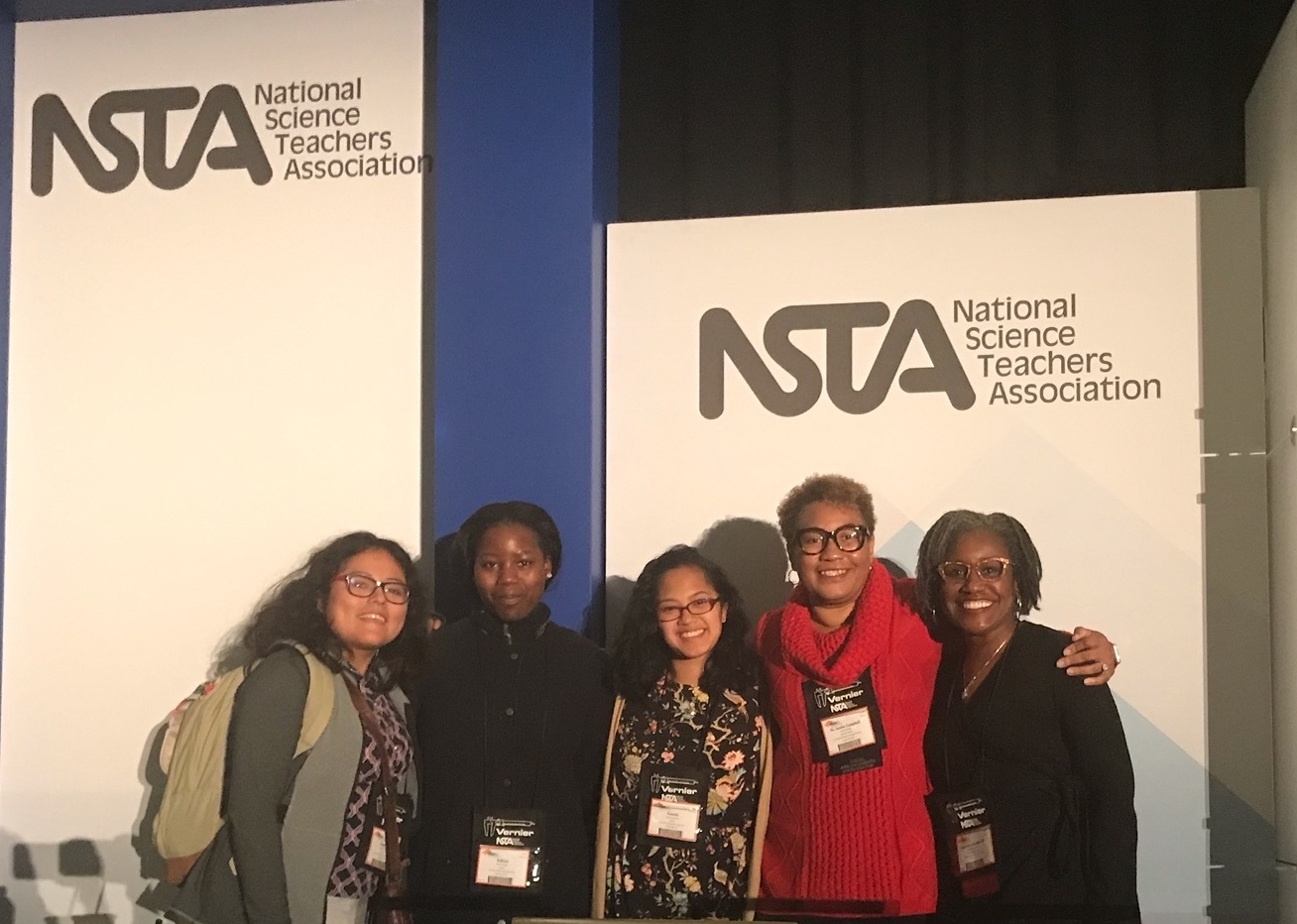Left to right: Josephine Vallejo (biological sciences, '20); Michelle Njinguet (chemistry, '20); Pamela Tarectecan (biological sciences, '19); Anisha Campbell (Associate Director); and Damaries Blondonville (Prince George's County Public Schools, TSL Senior Project Manager, Office of Talent Development)