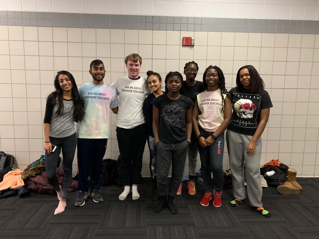Left to right: Samhita Chundury (bioengineering, '21), Joshua Pooranmal (computer science, '20), Peter Mielke (physics, '20), Lehka Tantry (mathematics, '19), unknown, unknown, Precious Azike (biological sciences, '20), and unknown