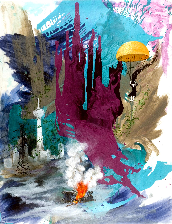 """""""Green Sorrow"""" by Hedieh Ilchi Acrylic on Mylar 54"""" x 42"""" 2009"""