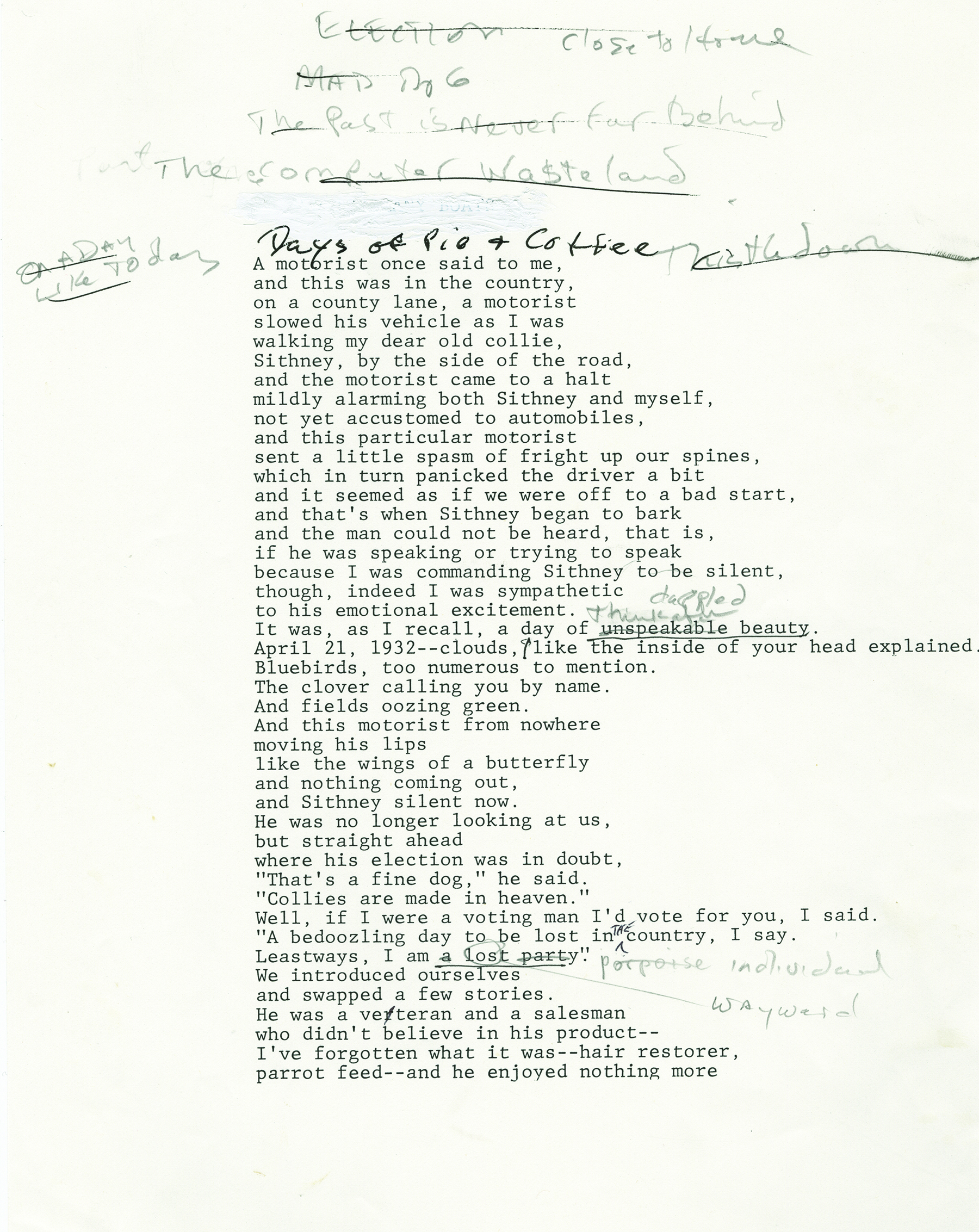 "Manuscript page of ""Days of Pie and Coffee""  (Courtesy of the Harry Ransom Center)"