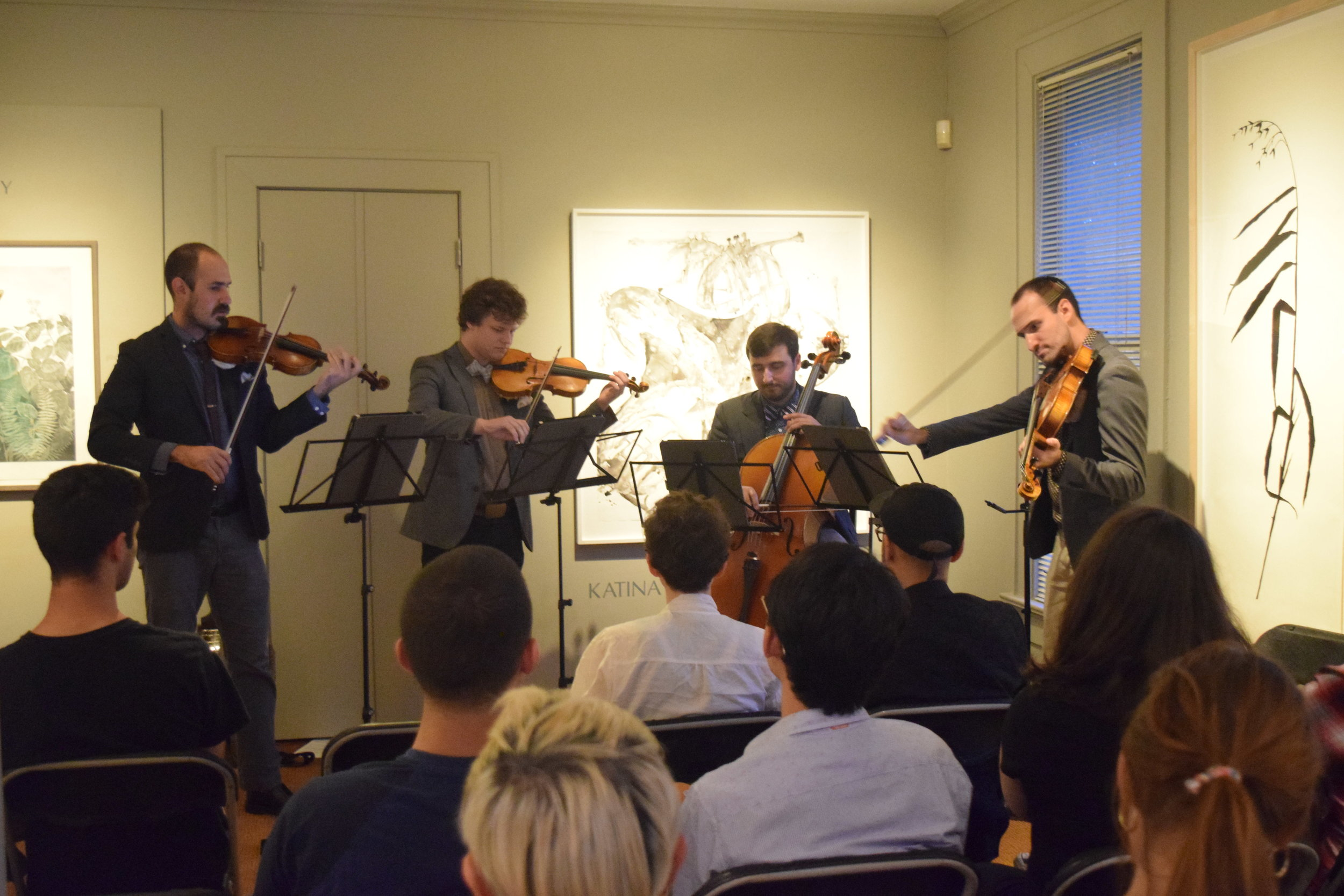 The amazing band  Invoke Sound!  Currently they are the Young Professional String Quartet in Residence at the University of Texas at Austin. In 2016, the band received First Prize in the Savvy Musician in ACTION Chamber Competition