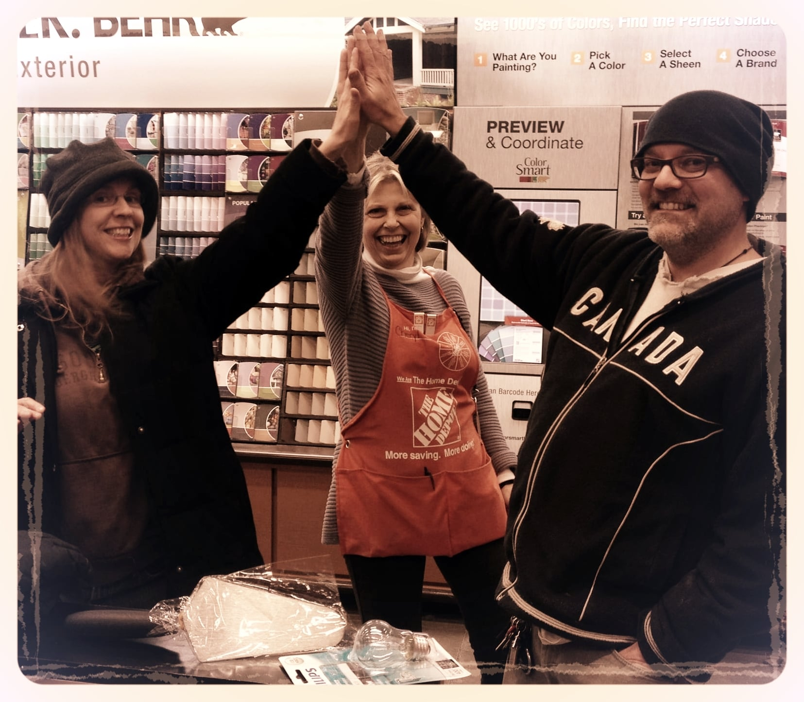Our favorite high vibe Home Depot employee and friend, Cheryl, has cheerfully seen us through a few fixer uppers.
