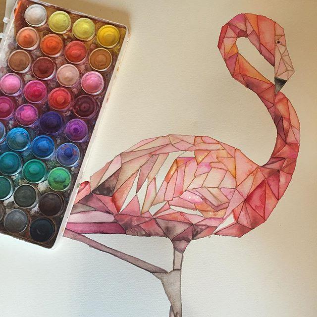 Heidi's gorgeous watercolor flamingo