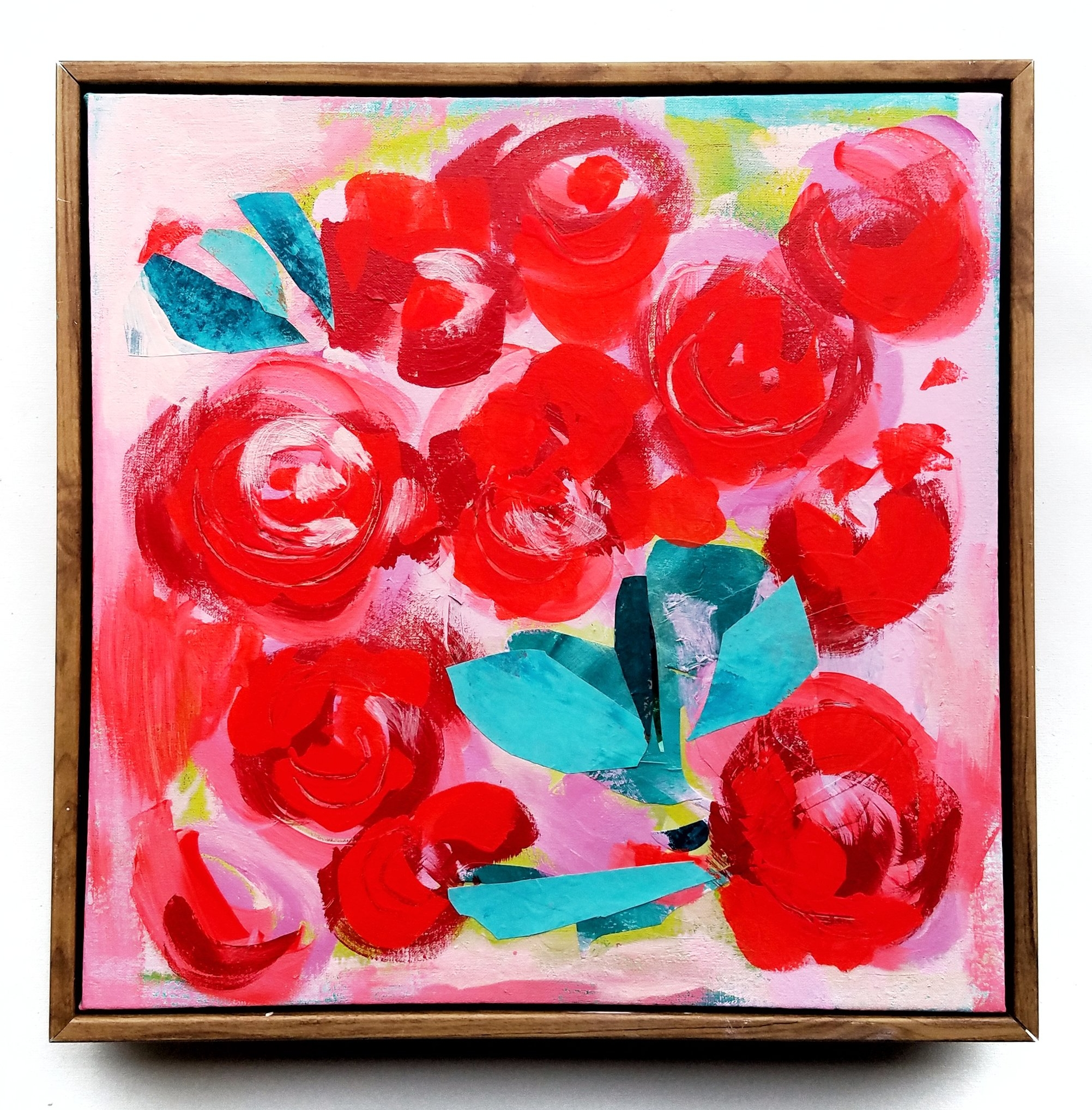 "11 in. x 11 in. Original mixed media on canvas titled ""Roses for the Midnight Social"""