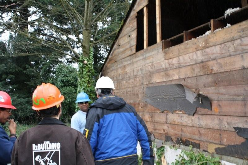 Senator Merkeley with DeConstruction Crew & Shane Endicott on SHI Site