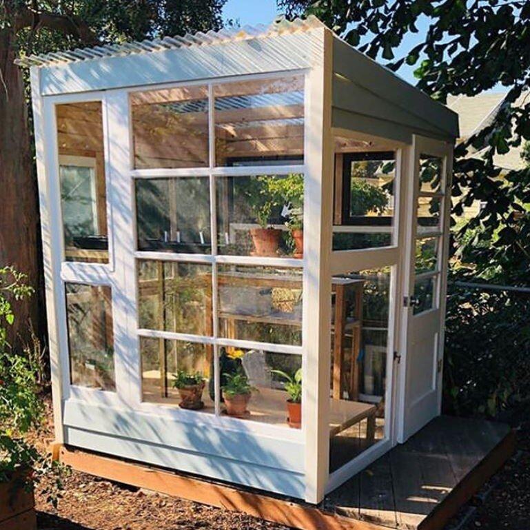 Reclaimed Window Greenhouse  @noal_pdx