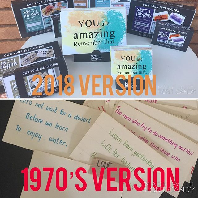 So happy I still have a few of these to show others the full circle journey God has provided me.. who would of thought.. a sayings junkie turned full time ministry/business.. So they both do the job.. one just grabs you a bit more and says 'READ and APPLY' a bit louder! #backthen #seventiesstyle #feedyourmind #feedyoursoul #passion #sayingstoliveby #dailywords #dailymessage #dailyinspiration #inspirationforyou #youareamazing #fullcircle #greatgift #makeadifference #youmatter #selftalk #selfhelp #positiveaffirmations #affirmations #affirmationcards #selfesteemboost #mentalhealthmatters #successquotes #faithquotes #dailyquotes