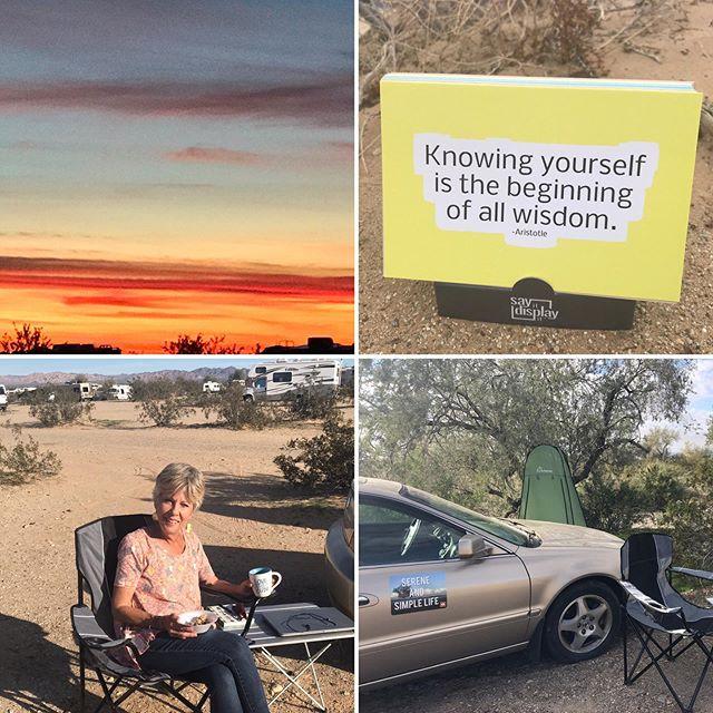A gypsy nomad life chapter. Second leg of my earthly journey.. #desert #nomadlife #nomad #gypsysouls #gypsylife #sunset #desertsunset #serenitysedan #sereneandsimplelife #serenity #knowyourself #wisdomquotes #dailyinspiration #inspirationcards #motivationalquote #quotesandsayings #sayingsandquotes #inspired #livinginacar #carhome #serenitysedan #dailywords #dailymessage