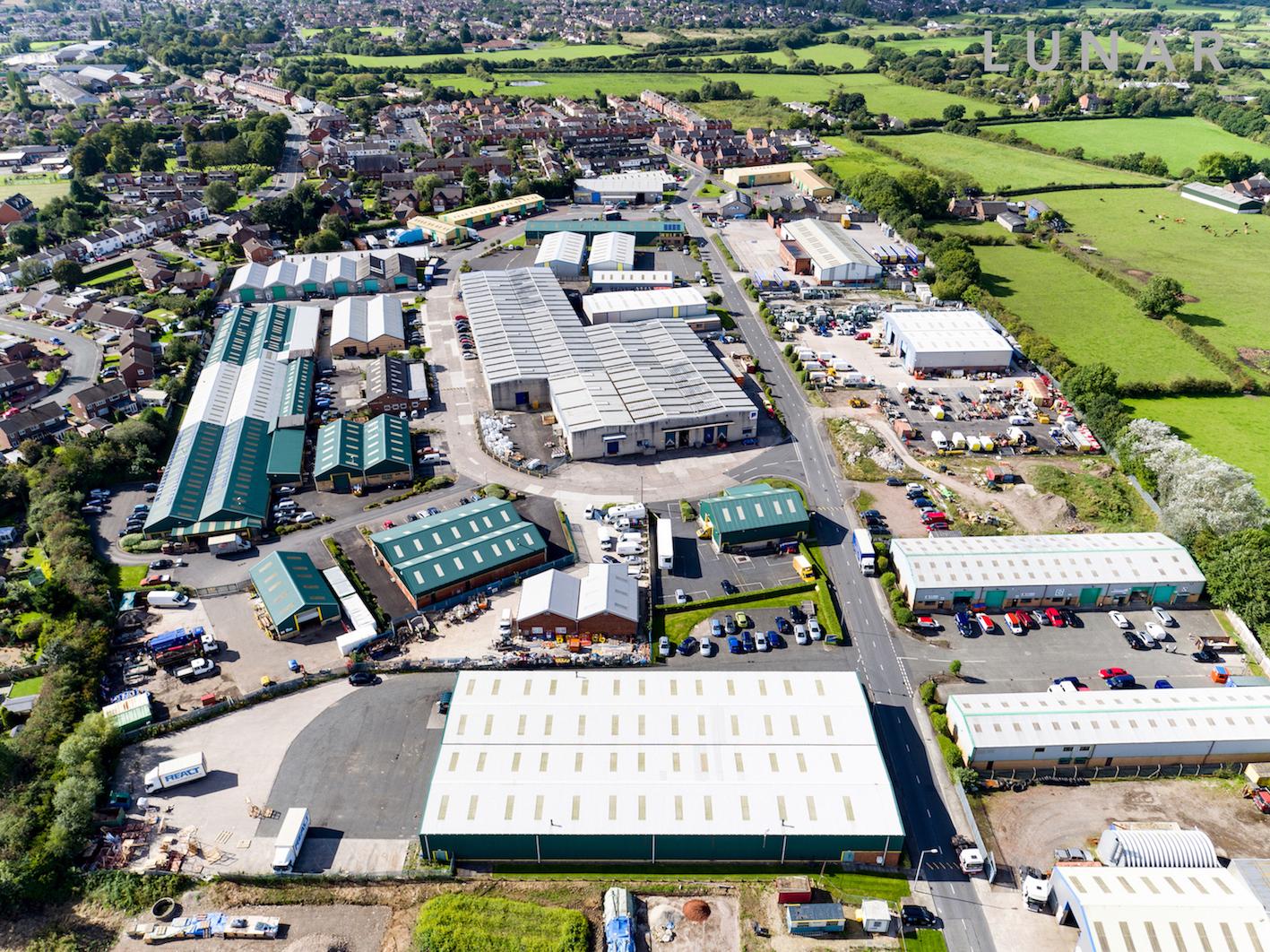 industrial estate drone footage northwest Warrington