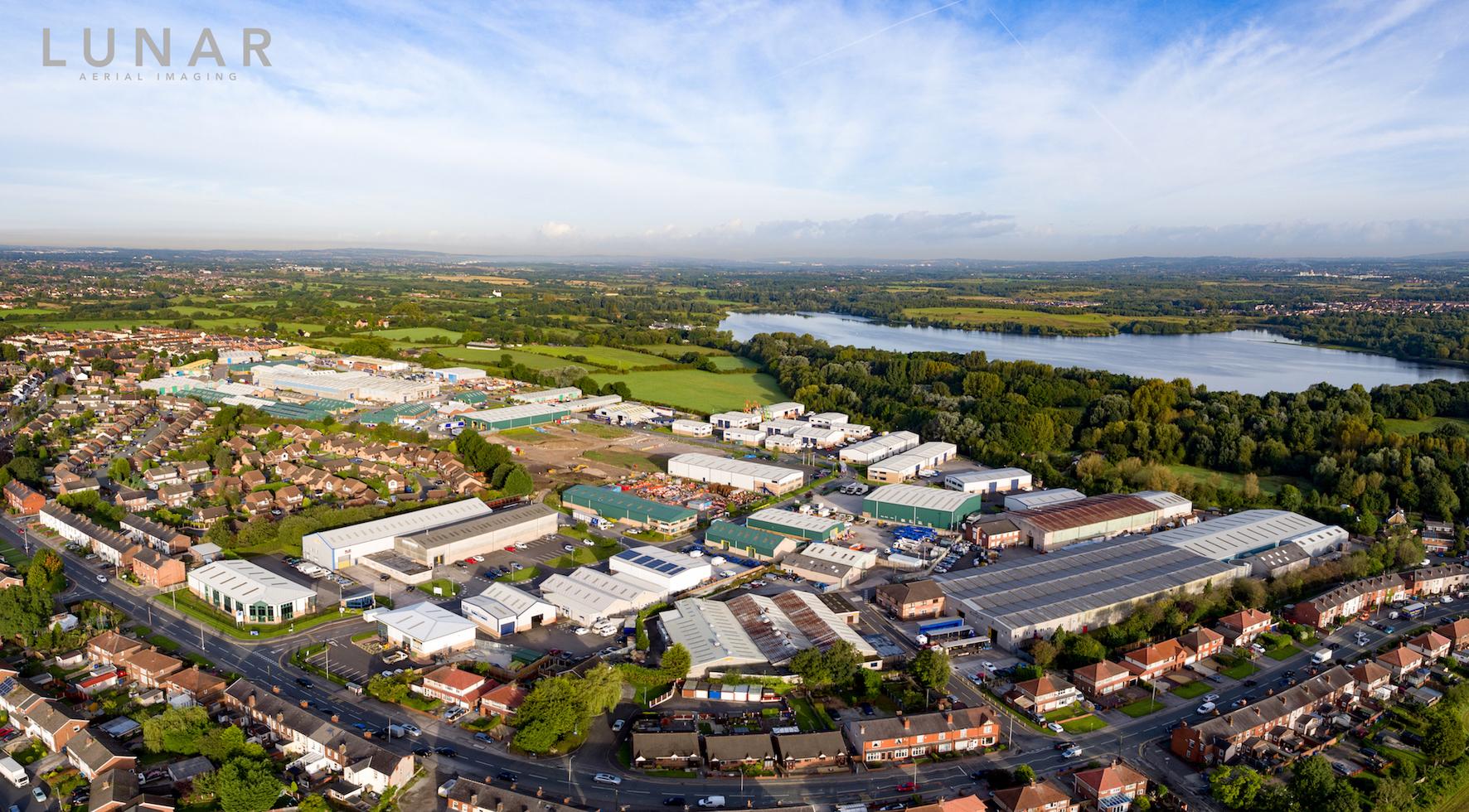 Industrial estate drone video northwest