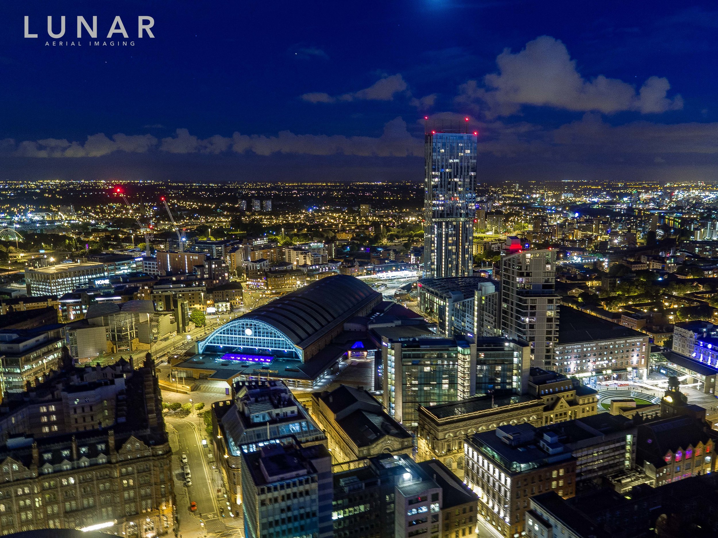 Manchester night drone footage