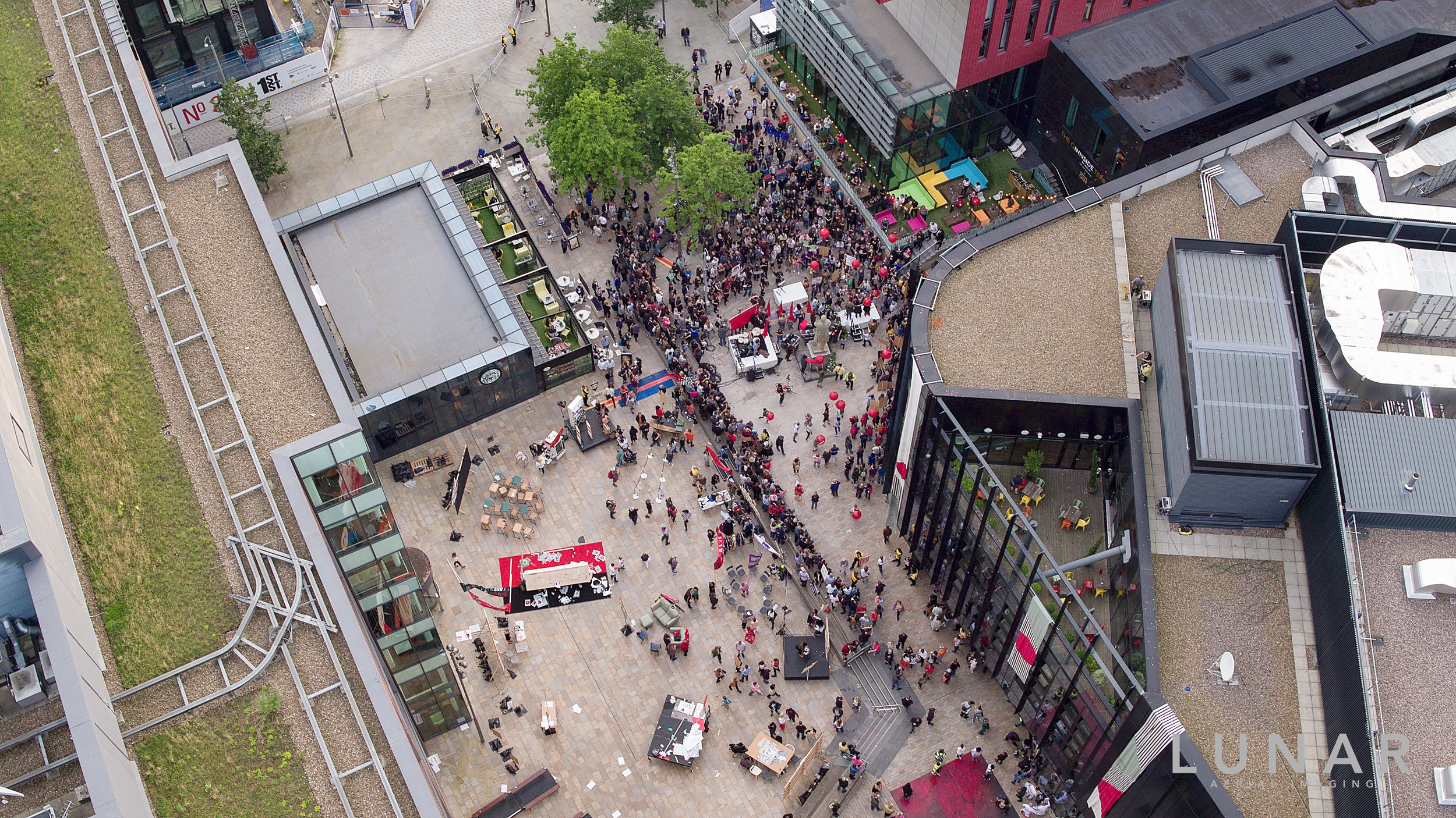 Another drone's eye view: Tony Wilson Place.