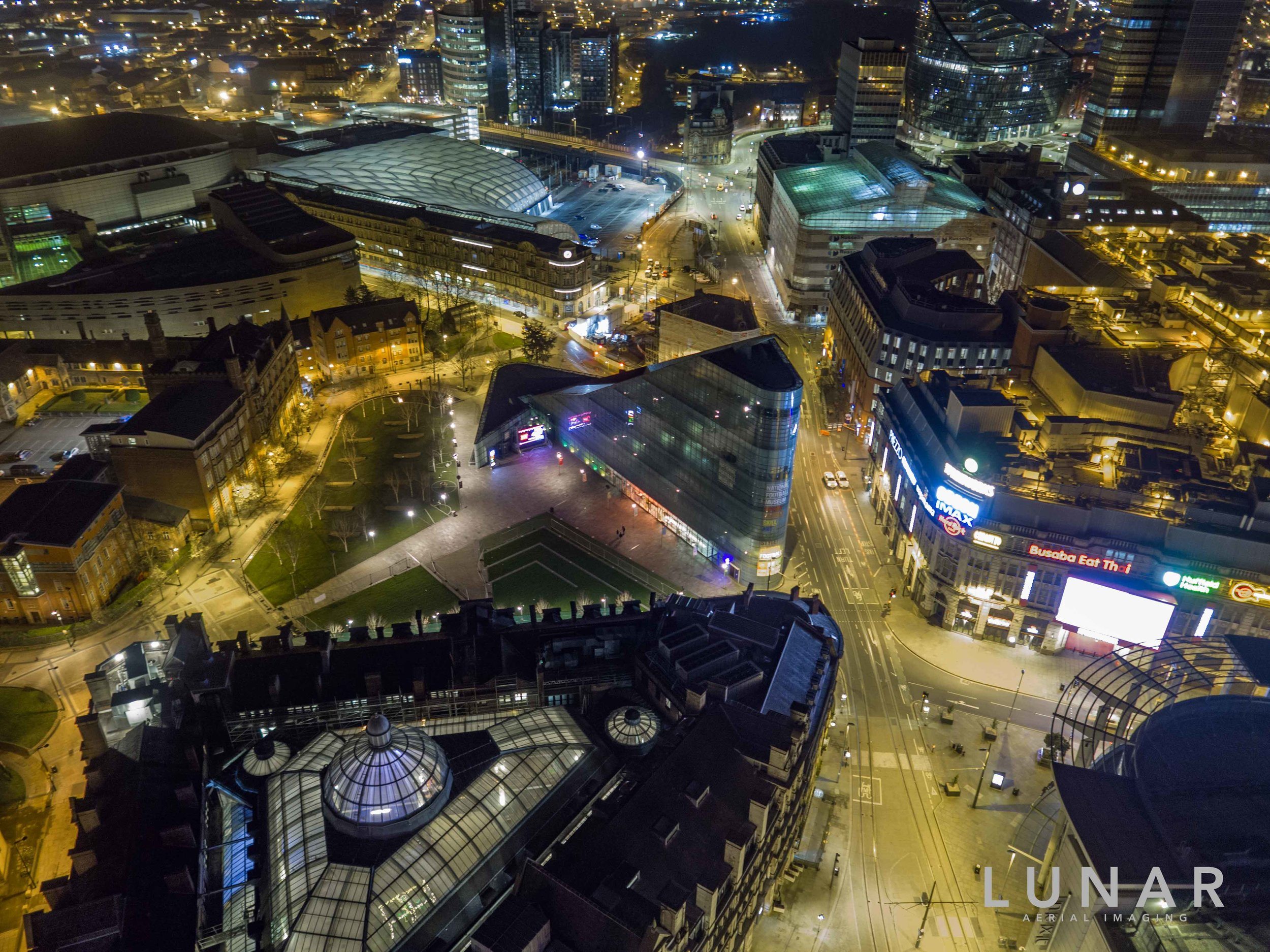 Nigh aerial view of Manchester Corn Exchange, Exchange Square