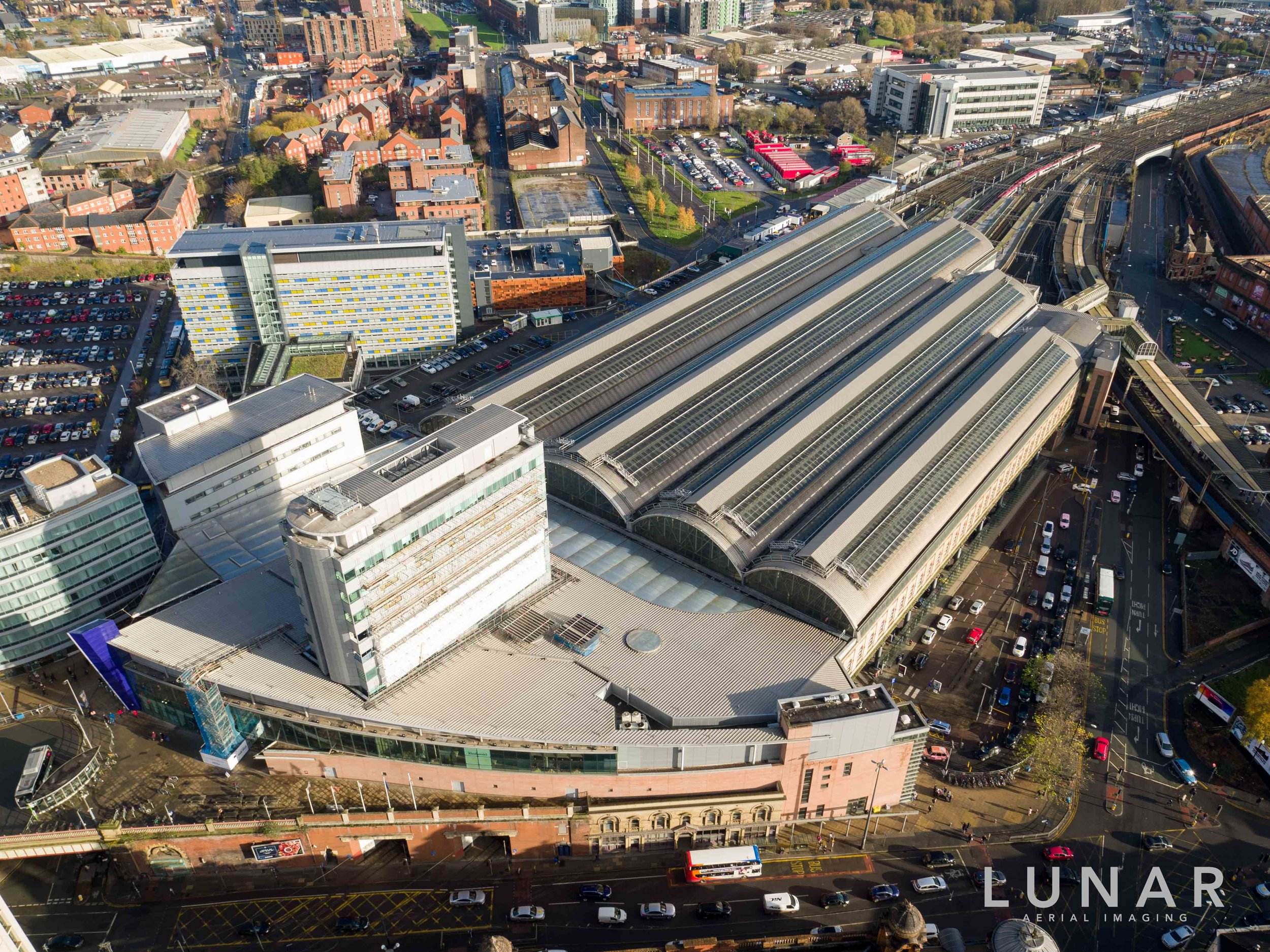 Aerial view of Manchester Piccadilly Train Station